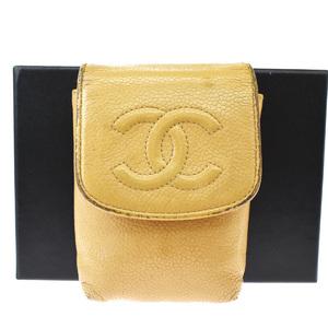 Chanel Cigarette Case Leather Beige CC logo caviar skin