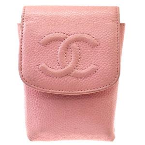 Chanel Cigarette Case Leather Pink CC logo caviar skin