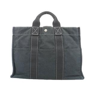 Auth Hermes Fool ToeMM Women's Canvas Handbag,Tote Bag Black