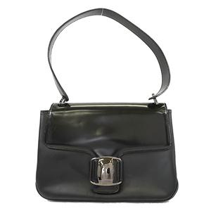 Auth Salvatore Ferragamo Vara Shoulder Bag Women's Leather Shoulder Bag Black