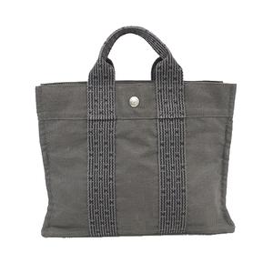 Auth Hermes Her Line PM Women,Unisex Canvas Handbag,Tote Bag Black