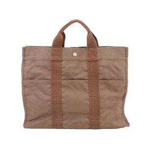 Auth Hermes Her Line MM Women's Canvas Handbag,Tote Bag Brown