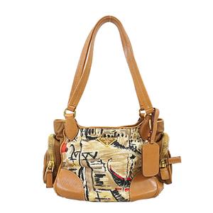 Auth Prada Test Women's Nylon Handbag Brown