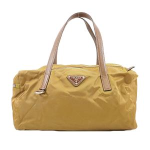 Auth Prada Handbag Women's Nylon Handbag Light Brown