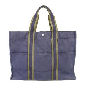 Auth Hermes Fourre Tout Fourre Tout MM Women's Canvas Tote Bag Navy