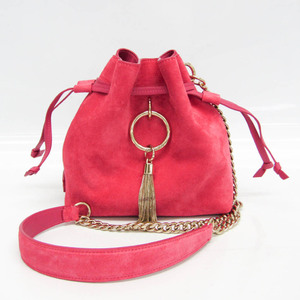 Jimmy Choo CALLIE DRAW STRING / S Women's Leather,Suede Shoulder Bag Pink