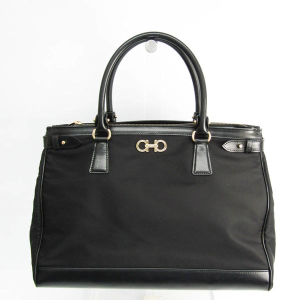 Salvatore Ferragamo GG-21E164 Women's Leather,Nylon Handbag Black