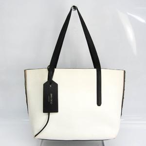 Jimmy Choo TWIST EAST WEST Women's Leather Tote Bag Black,Off-white