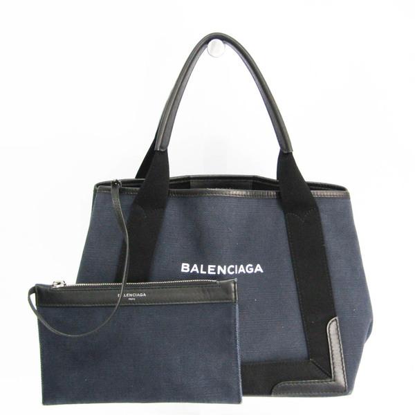 Balenciaga Navy Cabas S 339933 Women's Canvas,Leather Handbag Black,Navy