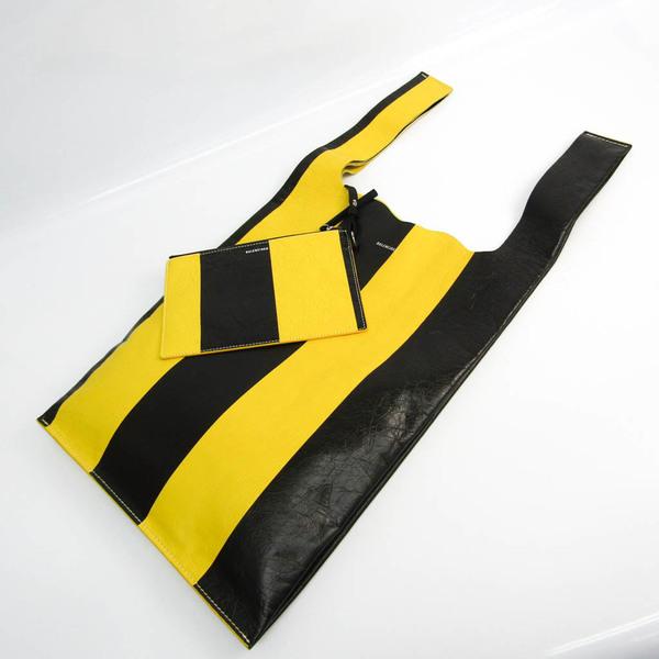 Balenciaga SUPERMARKET SHOP M 506781 Women's Leather Handbag Black,Yellow