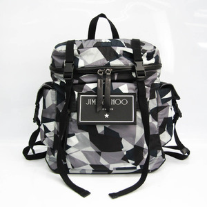 Jimmy Choo WIXON CIN ANTHRACITE MIX Unisex Leather,Nylon Backpack Black,Gray,Multi-color