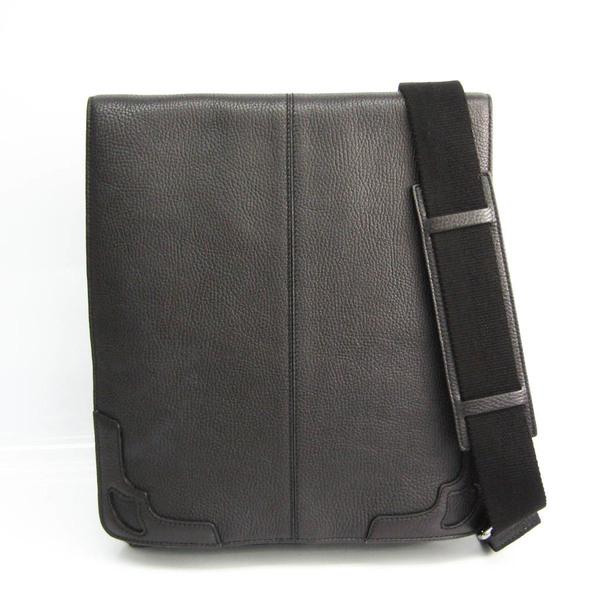Cartier Unisex Leather Shoulder Bag Black