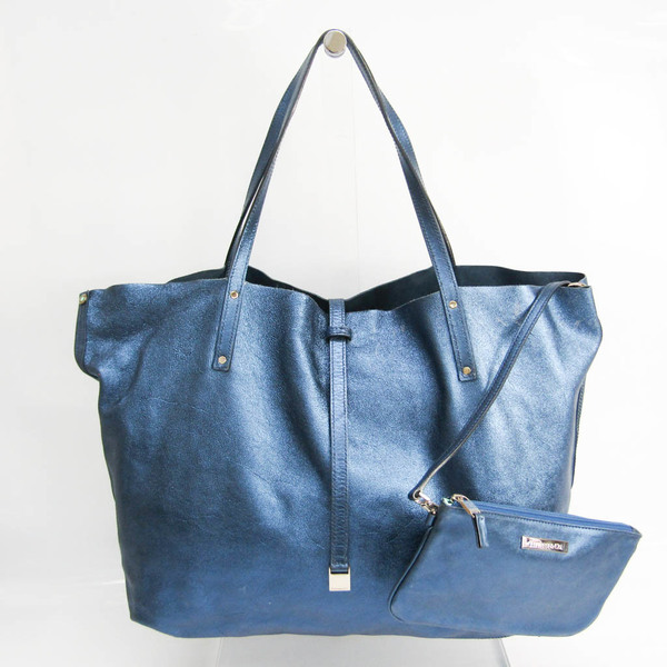 Tiffany Reversible Women's Leather,Suede Tote Bag Metallic Navy,Navy