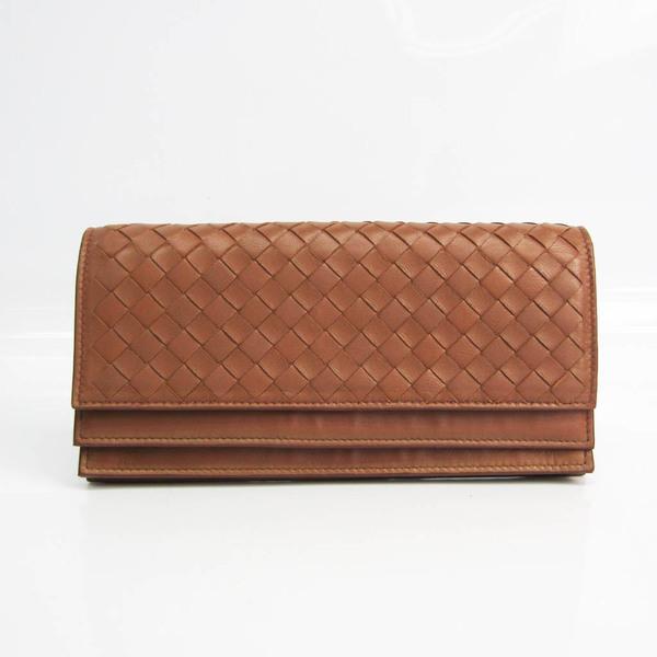 Bottega Veneta Intrecciato Unisex Leather Long Wallet (bi-fold) Brown