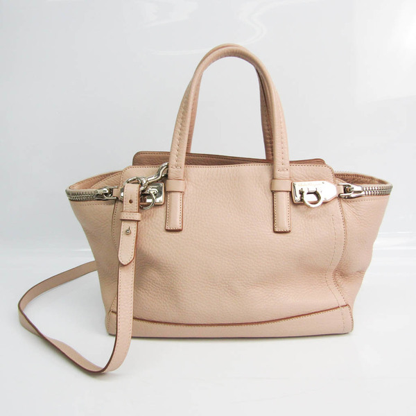 Salvatore Ferragamo Gancini EZ-21 E424 Women's Leather Handbag,Shoulder Bag Pink Beige