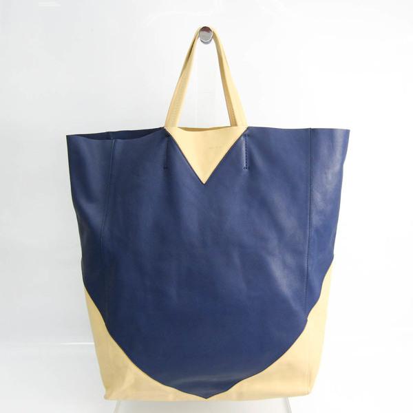 Celine Cabas Horizontal Women's Leather Handbag Navy,Yellow