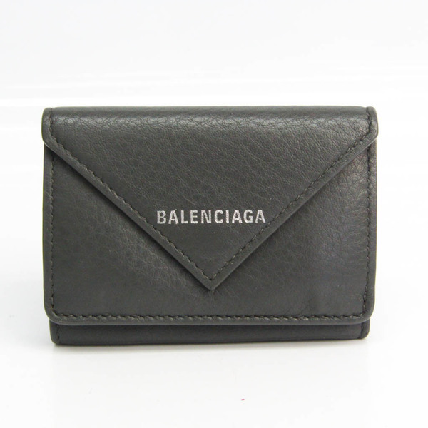 Balenciaga Paper Mini Wallet 504564 Unisex Leather Wallet (tri-fold) Gray