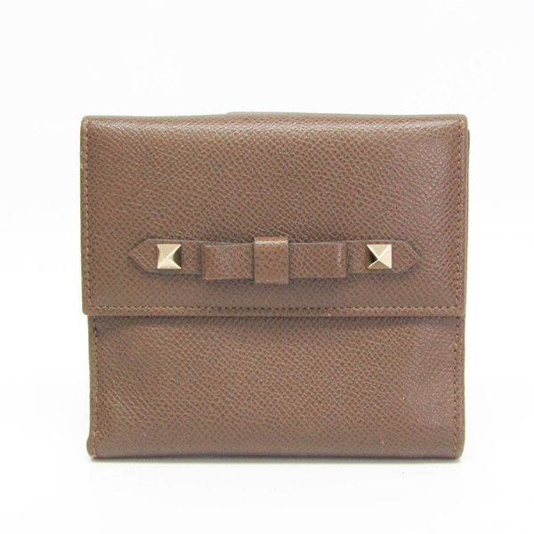 Valentino BWP00939 Women's Leather Middle Wallet (bi-fold) Dark Brown