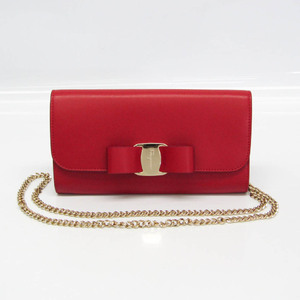 Salvatore Ferragamo 22 D328 Women's Leather Shoulder Bag Red Color