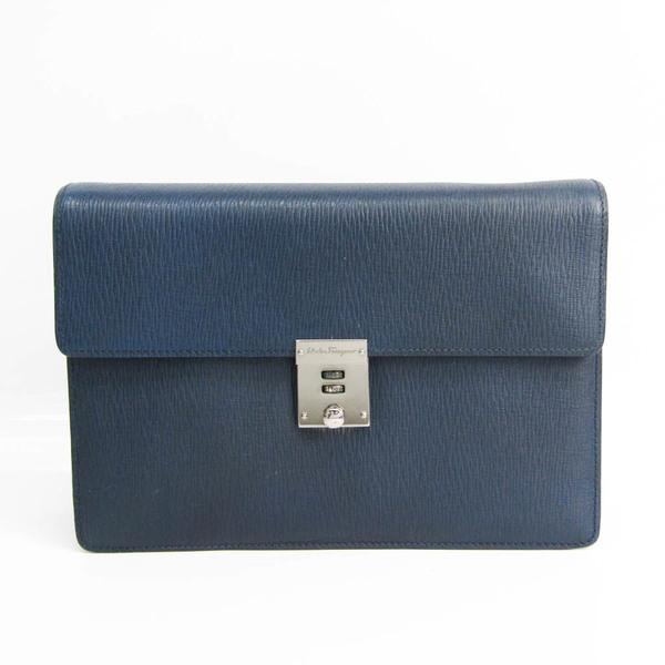 Salvatore Ferragamo EO-24 7202 Men's Leather Clutch Bag Navy