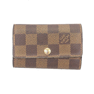 Auth Louis Vuitton Damier Multikre 6 N62630 Men,Women,Unisex Leather Key Case Ebene