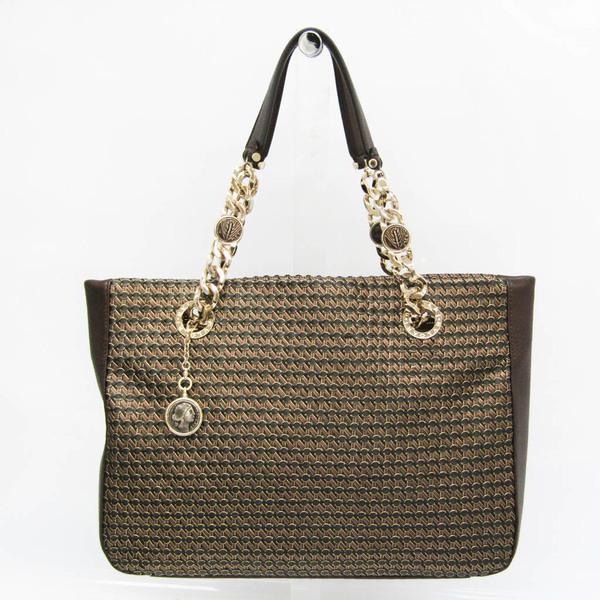 Bvlgari Chain Women's Leather Tote Bag Black,Gold,Metallic Brown