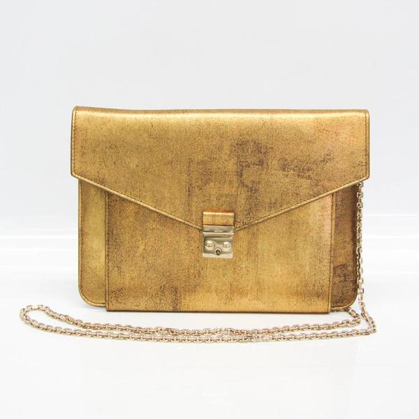 Christian Dior Women's Leather Clutch Bag,Shoulder Bag Gold