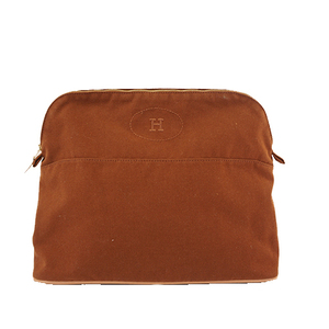 Auth Hermes Bolide Bored Pouch Women's Canvas Pouch Brown