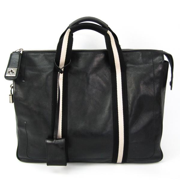 Bally Men's Leather,Canvas Handbag Black,Off-white
