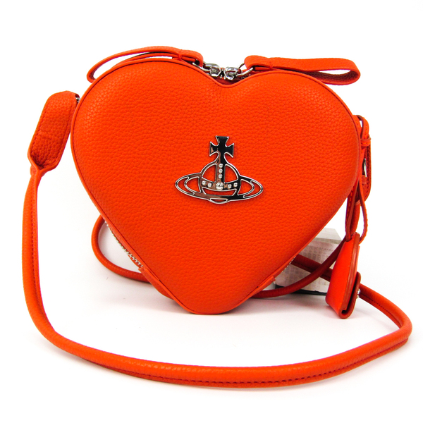 Vivienne Westwood Heart-shaped Women's Leather Shoulder Bag Dark Orange
