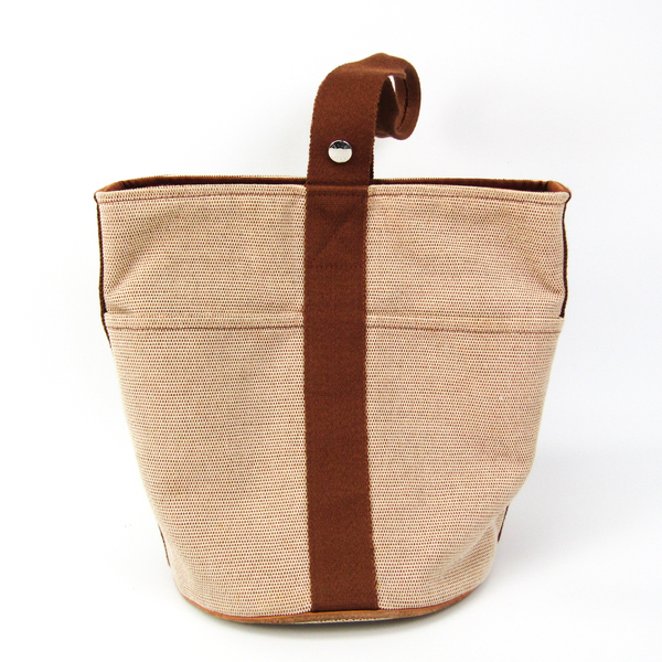 Hermes Saxon MM Women's Cotton,Elastane Handbag Beige,Brown