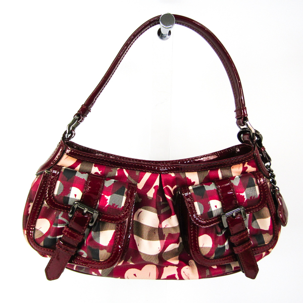 Burberry Heart Pattern Women's Patent Leather,Coated Canvas Shoulder Bag Beige,Multi-color,Wine