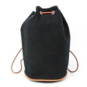 Hermes Polochon Mimil PM Unisex Cotton Canvas,Leather Shoulder Bag Black,Brown