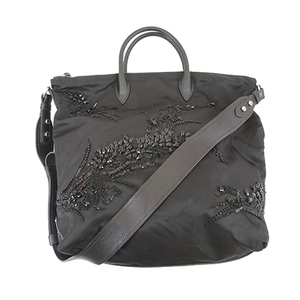 Auth Prada Tessuto Women's Nylon Shoulder Bag Black