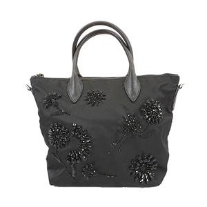 Auth Prada Handbag Women's Nylon Handbag Black