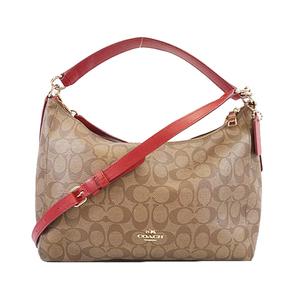 Auth Coach Signature 2WAYバッグ 2WAYbag PVC Shoulder Bag Beige,Red Color