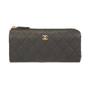 Auth Chanel Matelasse Bifold Long Wallet Women's Caviar Leather Long Wallet (bi-fold) Black