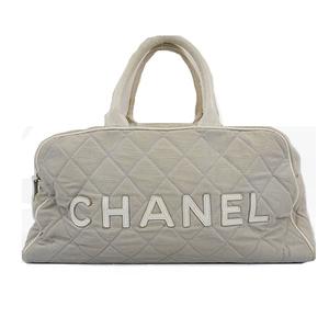 Auth Chanel Sport Hand Bag Women's Canvas Handbag Gray