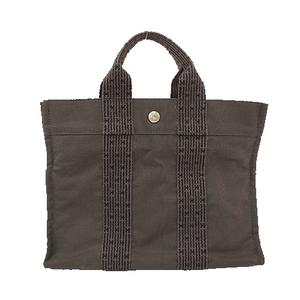 Auth Hermes Her Line PM Cabas Women's Canvas Handbag,Tote Bag Black