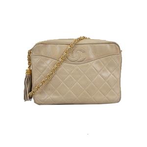 Auth Chanel Matelasse Chain Shoulder With Fringe Women's Leather Shoulder Bag Beige