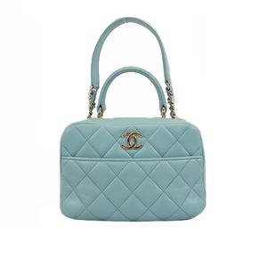 Auth Chanel Matelasse 2WAYbag Women's Leather Handbag,Shoulder Bag Light Blue