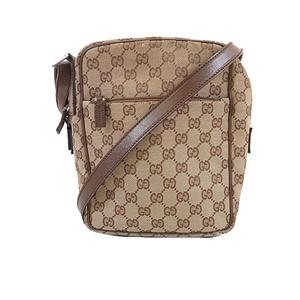 Auth Gucci Shoulder Bag 03136 Women's GG Canvas Shoulder Bag Beige