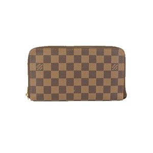 Auth Louis Vuitton Damier Zippy Organizer N60003Men's Leather,Damier Canvas Long Wallet (bi-fold) Ebene