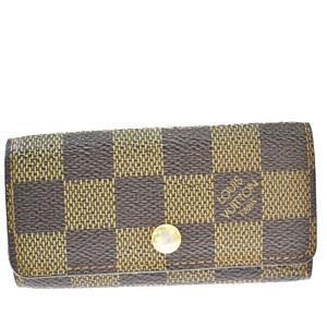 Louis Vuitton Damier Multicule 4 N62631 Unisex Leather Key Case Ebene