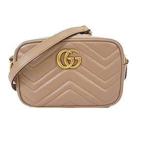 Auth Gucci GGmarmont 448065 Women's Leather Shoulder Bag Pink