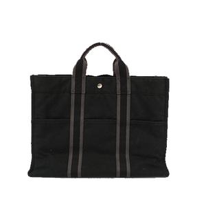 エルメス トートバッグ ニューフールトゥMM キャンバス ブラック シルバー金具