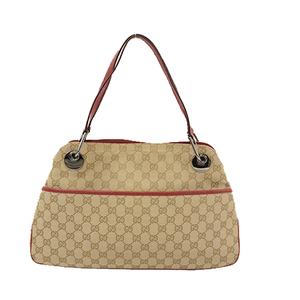 Auth Gucci GG Canvas Handbag 120984 Women's Shoulder Bag Beige,Red Color