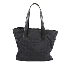 Auth Chanel New Travel Line A15991 Women's Nylon Canvas Tote Bag Black