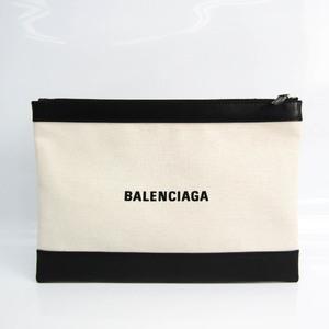 バレンシアガ(Balenciaga) ネイビークリップM 373834 レディース キャンバス,レザー クラッチバッグ ブラック,オフホワイト
