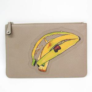 フェンディ(Fendi) バナナ柄 7N0078 ユニセックス レザー クラッチバッグ ブラウン,グレーベージュ,グリーン,イエロー